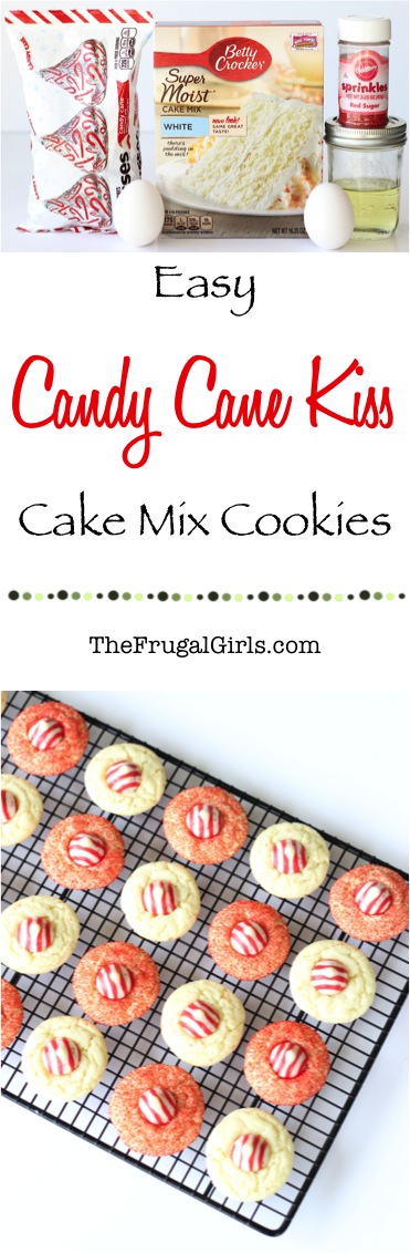 Easy Candy Cane Kiss Cookies Recipe from TheFrugalGirls.com