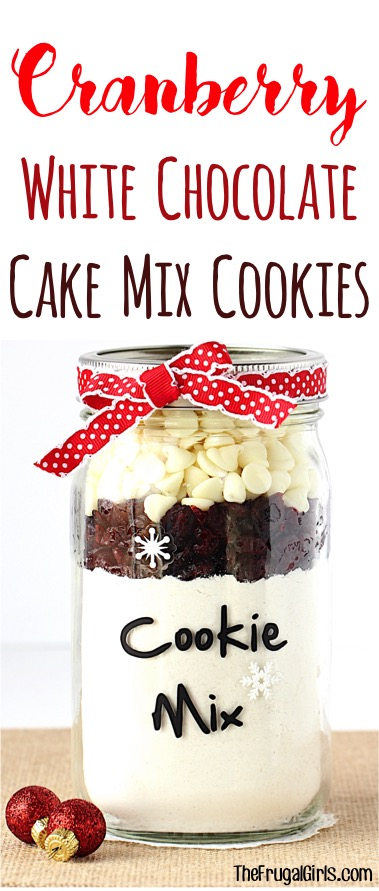Cranberry White Chocolate Cake Mix Cookies Recipe from TheFrugalGirls.com