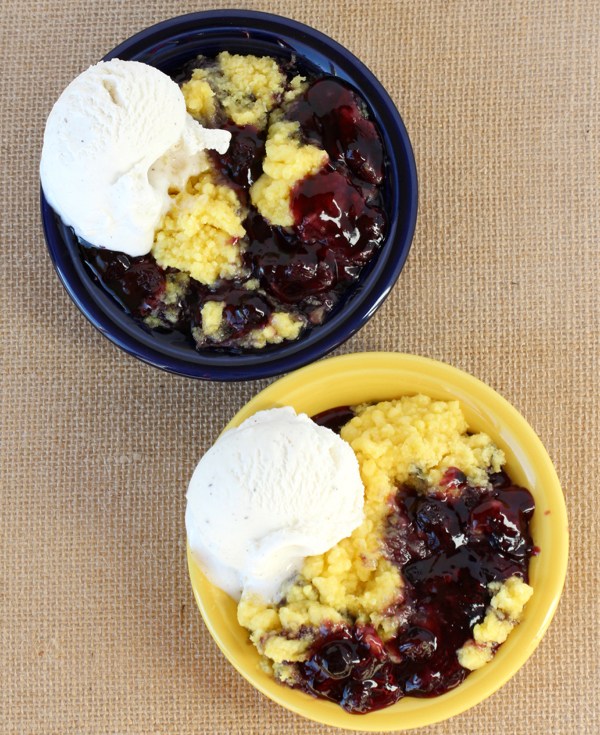 Crockpot Lemon Blueberry Dump Cake Recipe | TheFrugalGirls.com
