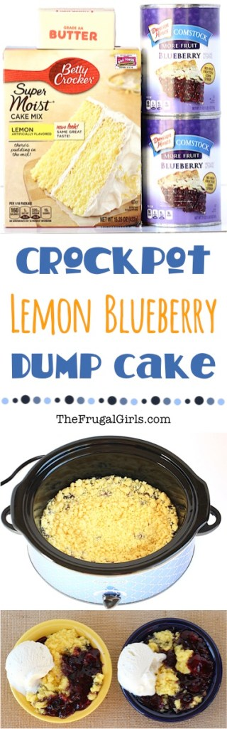Easy Crock Pot Lemon Blueberry Dump Cake Recipe at TheFrugalGirls.com