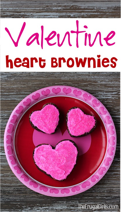 Valentine Heart Brownies Recipe at TheFrugalGirls.com