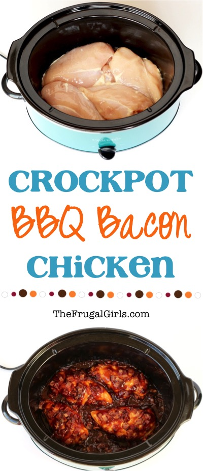 Crock Pot Bacon Barbecue Chicken Recipe from TheFrugalGirls.com