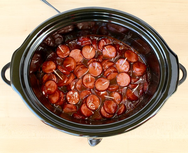 Crock Pot Kielbasa Bites Recipe - BBQ Ranch - from TheFrugalGirls.com
