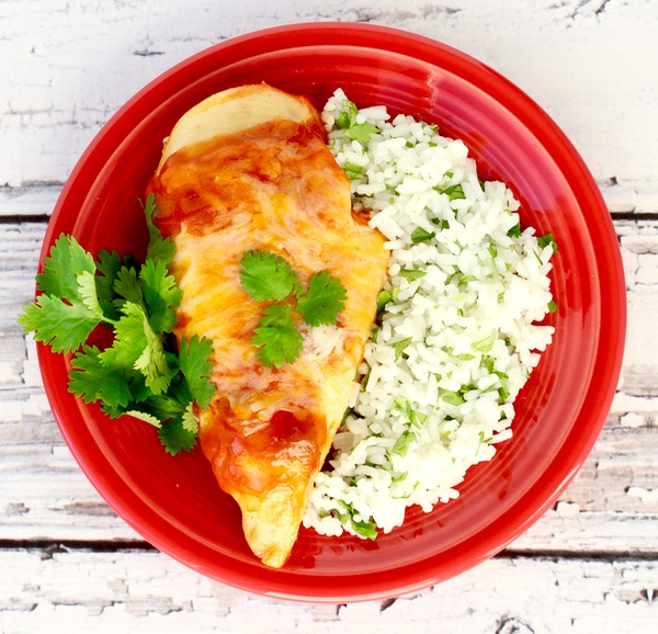 Crockpot Enchilada Chicken Recipe from TheFrugalGirls.com