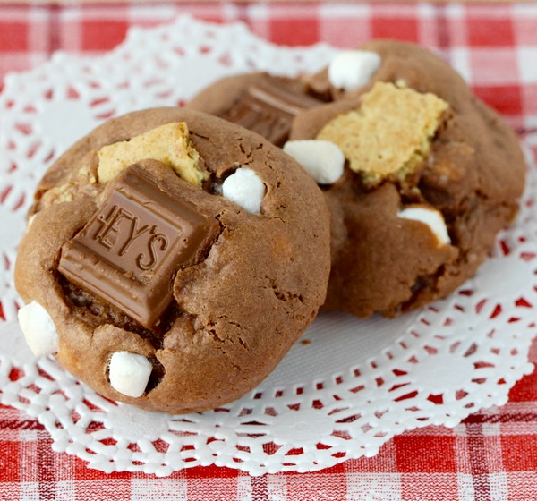 S'Mores Cake Mix Cookies Recipe from TheFrugalGirls.com