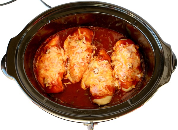 Slow Cooker Enchilada Chicken Recipe from TheFrugalGirls.com