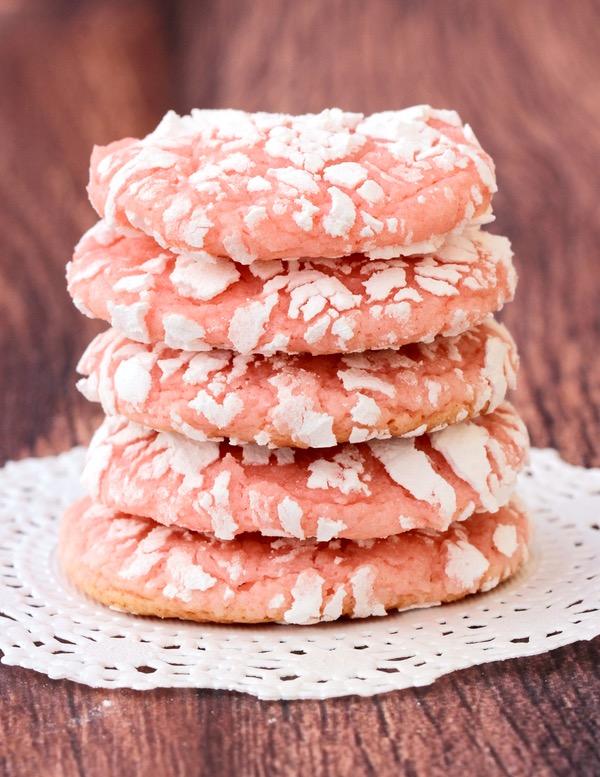 Strawberry Cake Mix Cookie Recipe at TheFrugalGirls.com