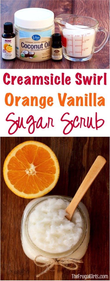 Creamsicle Swirl Orange Vanilla Sugar Scrub Recipe from TheFrugalGirls.com