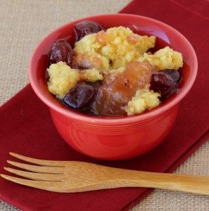 Slow Cooker Cranberry Apple Dump Cake Recipe from TheFrugalGirls.com