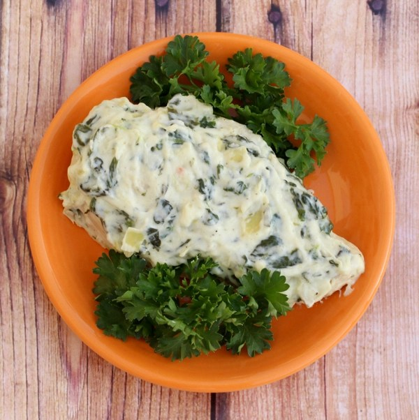 Crockpot Spinach Artichoke Chicken Recipe from TheFrugalGirls.com
