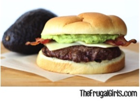 Easy Bacon Guacamole Burger Recipe from TheFrugalGirls.com