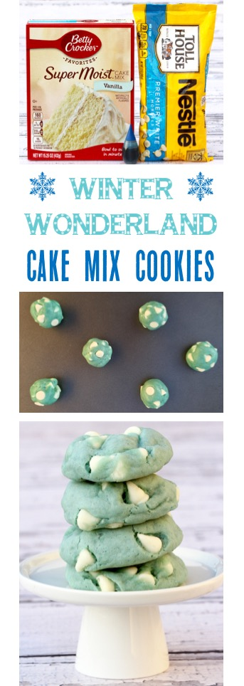 Winter Wonderland Cake Mix Cookies Recipe | TheFrugalGirls.com