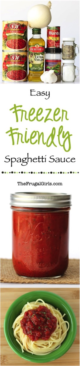Easy Freezer Friendly Crockpot Spaghetti Sauce Recipe from TheFrugalGirls.com