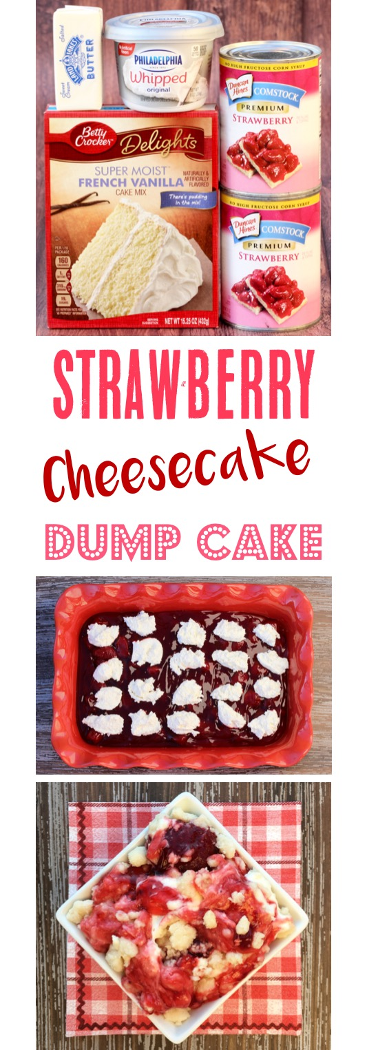 Strawberry Cream Cheese Dump Cake Recipe at TheFrugalGirls.com