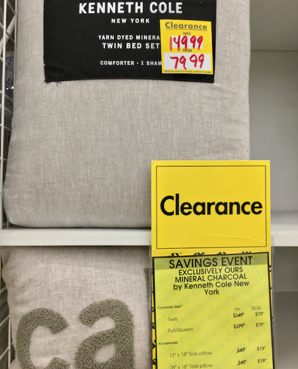 Bed Bath and Beyond Department Clearance