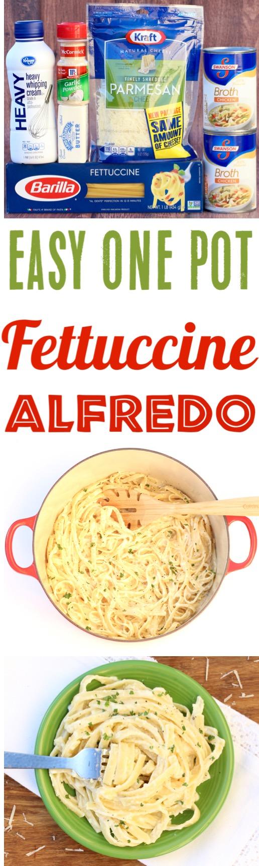 One Pot Fettuccine Alfredo Recipe Easy Pasta Dinner