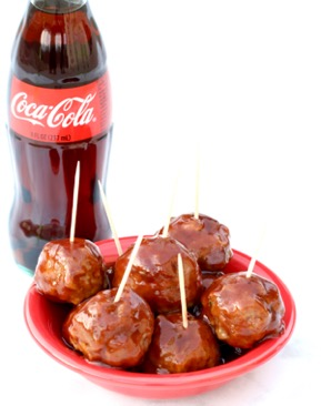 Crockpot BBQ Coke Meatballs Recipe at TheFrugalGirls.com