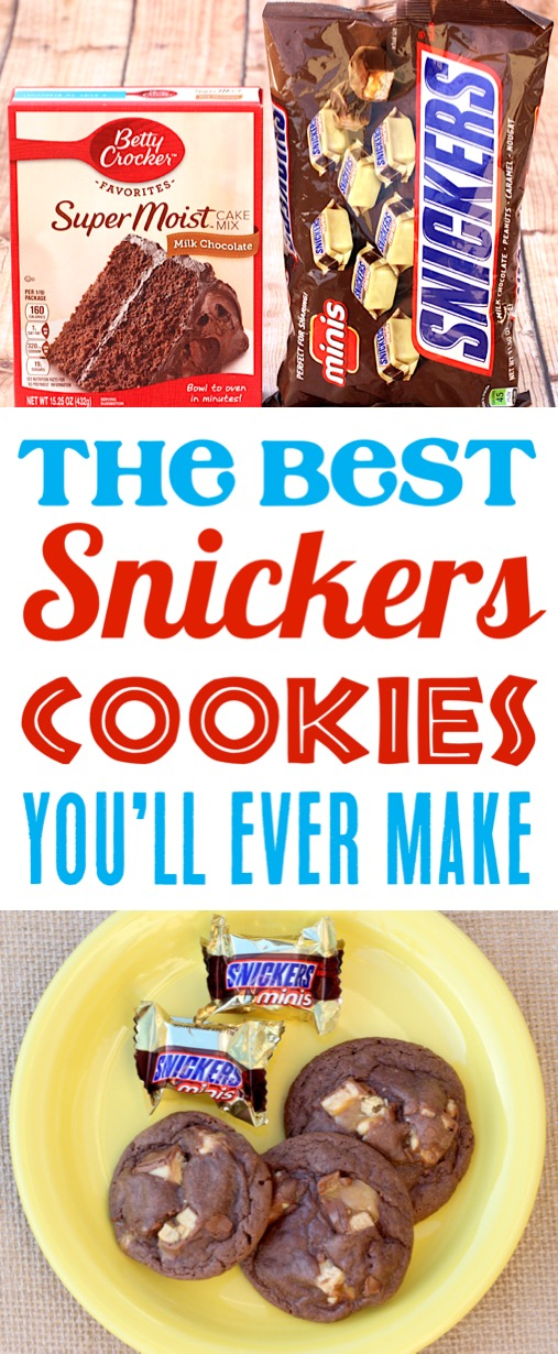 Snickers Cookies Recipes Easy Chocolate Cookie Made with a Cake Mix and Candy Bars