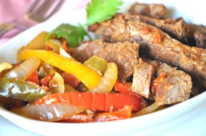 Crock Pot Beef Fajitas Recipe at TheFrugalGirls.com