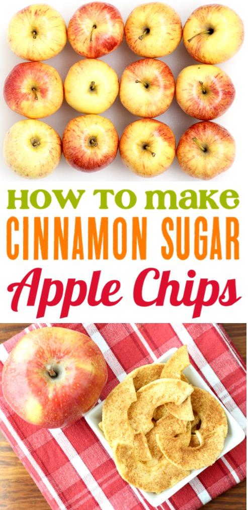 Apple Chips Cinnamon Sugar Dehydrated Healthy Snack Recipe