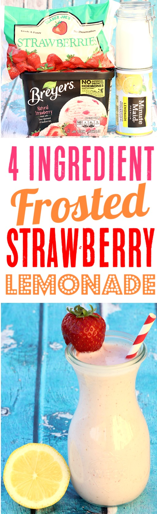 Frosted Lemonade Chick Fil A Copycat Recipe - Strawberry Lemonade Milkshake