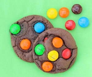 Dark Chocolate M&M Cookies Recipe at TheFrugalGirls.com