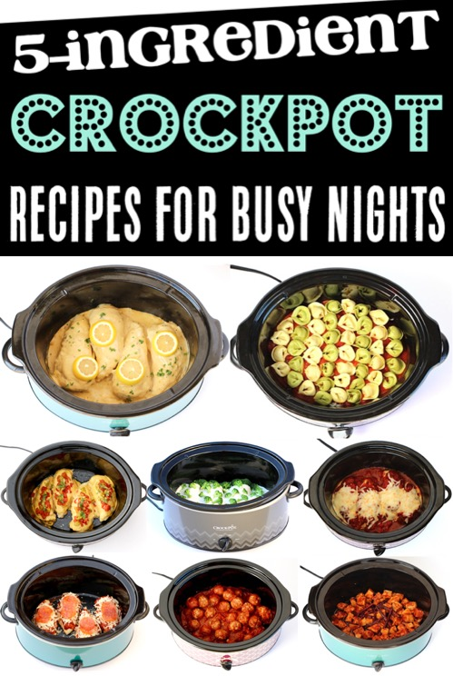 5 Ingredient Crock Pot Recipes - Easy Slow Cooker Dinners with 5 Ingredients or Less... perfect for those Busy Nights