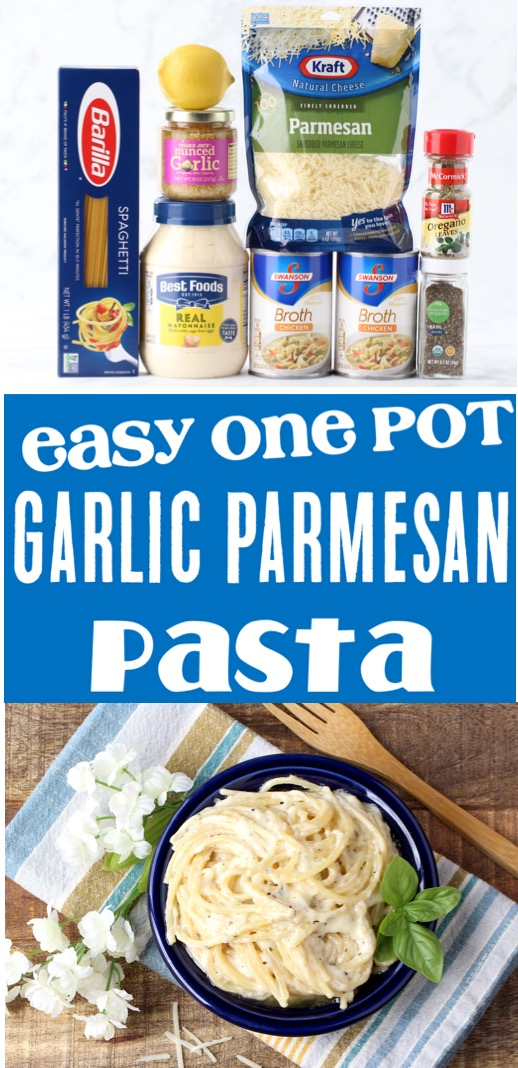 Garlic Parmesan Pasta Easy Homemade Sauce One Pot Recipe
