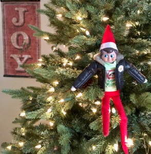 Elf on the Shelf Hiding in the Christmas Tree