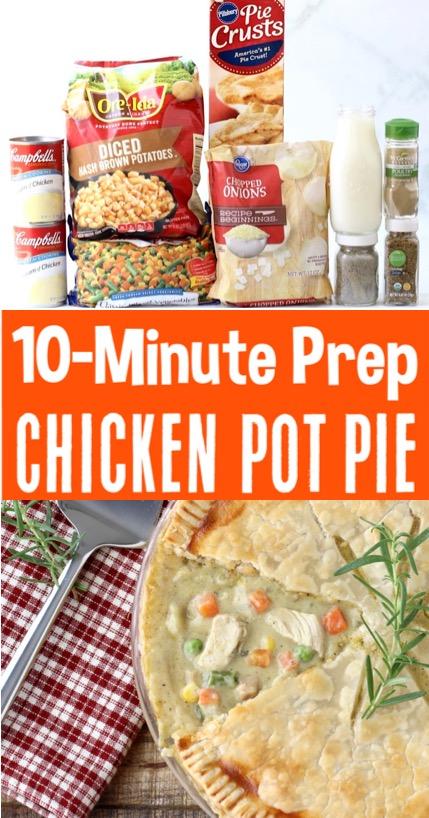 Chicken Pot Pie Recipe - Easy Simple Dinner with Pillsbury Crusts