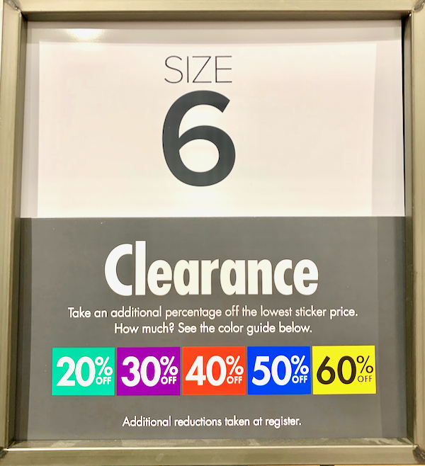 DSW Clearance Color Codes Tags
