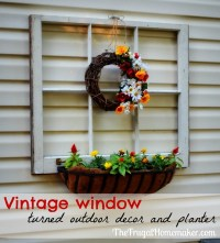 Vintage window turned outdoor decor and flower planter ...