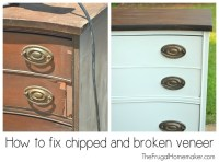 Dresser makeover (how to fix chipped veneer + deal with ...
