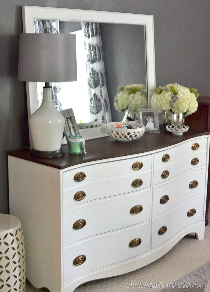 Painted Dresser and Mirror makeover Master Bedroom furniture