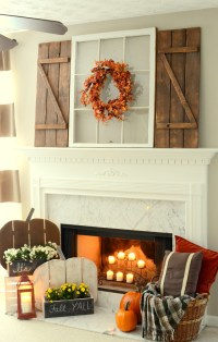 Rustic Fall Mantel with DIY Wood Pumpkins & DIY Barn Wood ...