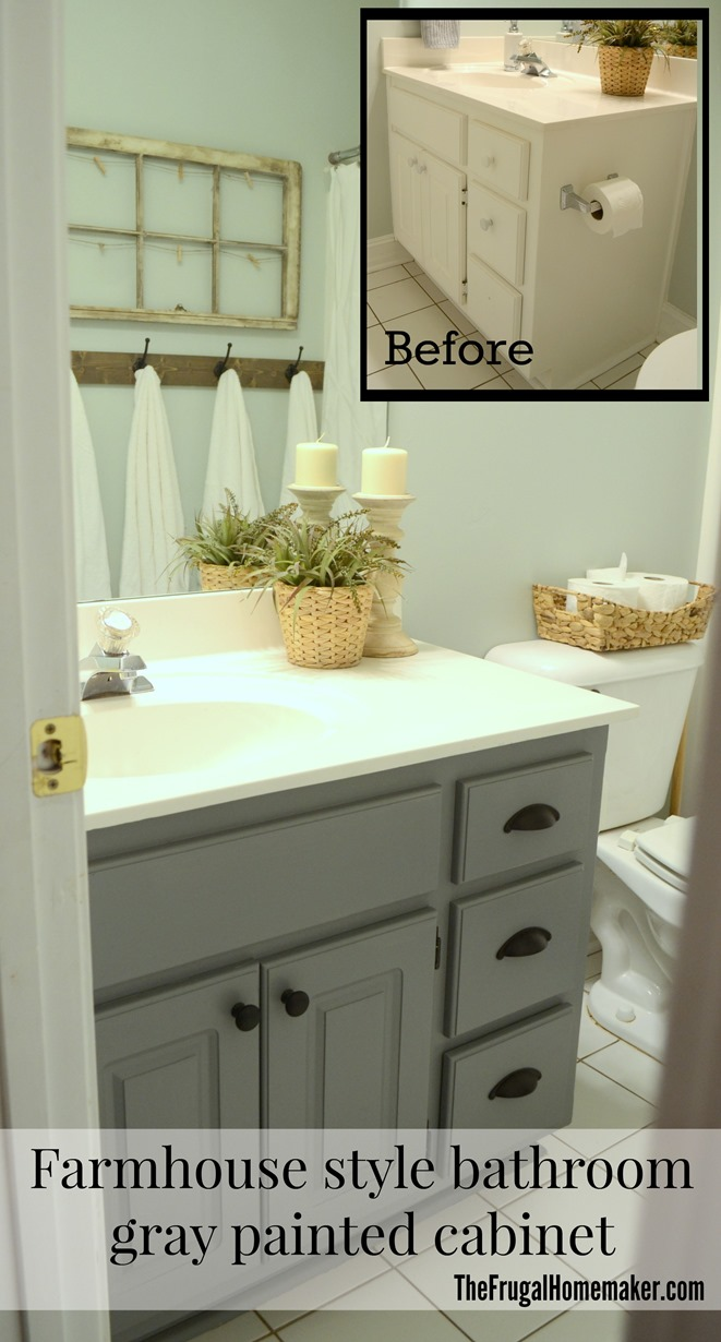 Painted Bathroom Cabinets Guest Bathroom Update Farmhouse Style Bathroom Gray Painted Cabinet