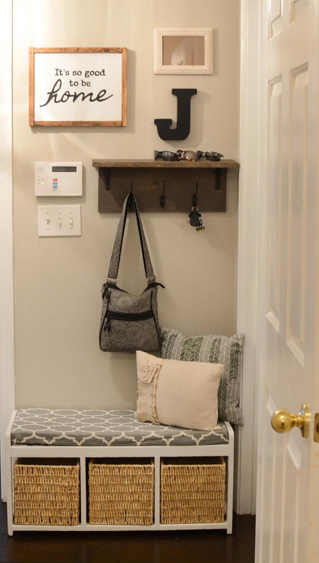 Mudroom gallery wall + DIY coat rack shelf