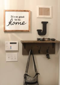 Mudroom gallery wall + DIY coat rack shelf
