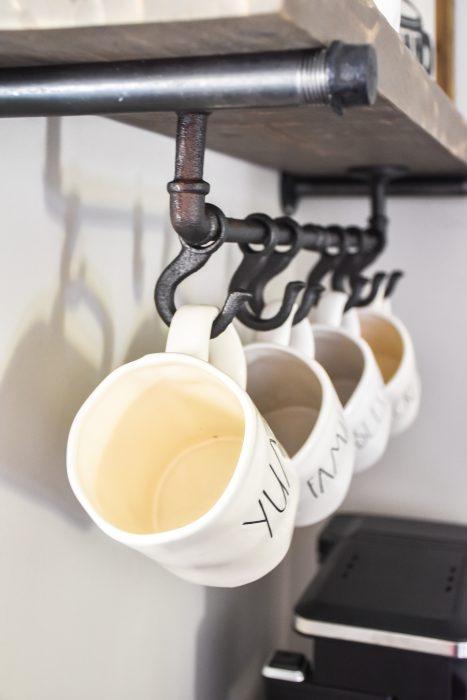 farmhouse coffee bar with diy floating
