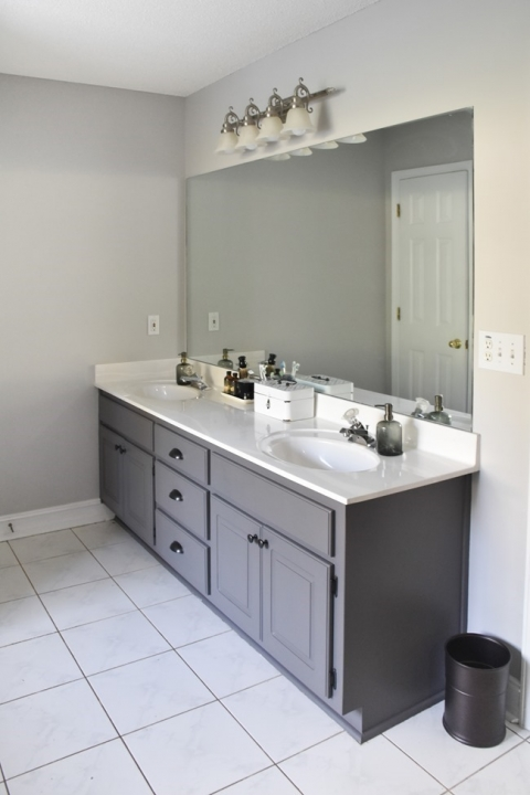 Master Bathroom Painted Vanity 100 Room Challenge The Frugal Homemaker