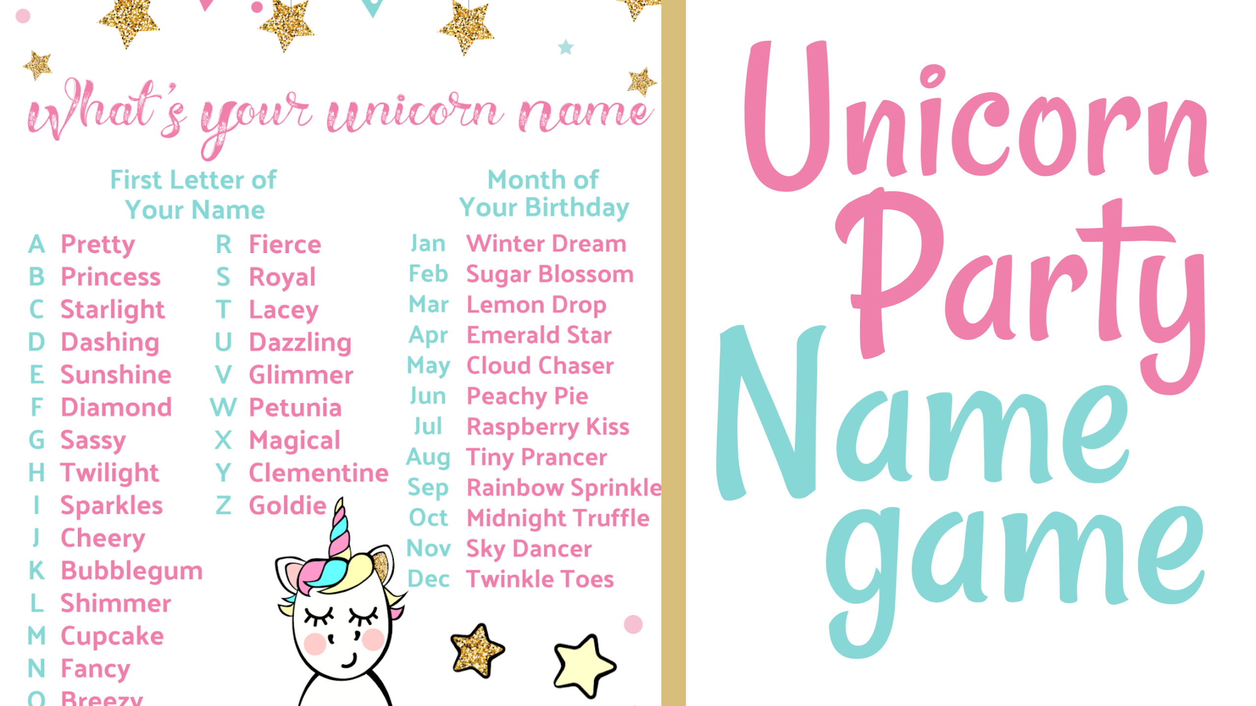 image about Free Unicorn Name Printable identify Unicorn Get together Popularity Match ~ The Frugal Sisters
