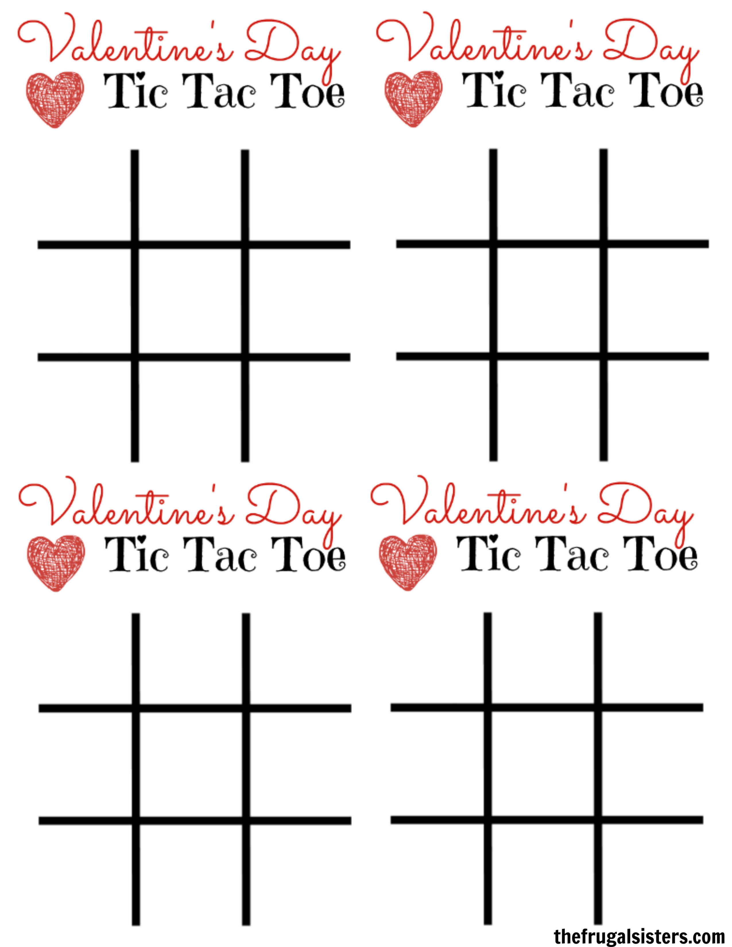 photograph about Tic Tac Toe Valentine Printable called Tic Tac Toe Valentines Working day Card ~ The Frugal Sisters