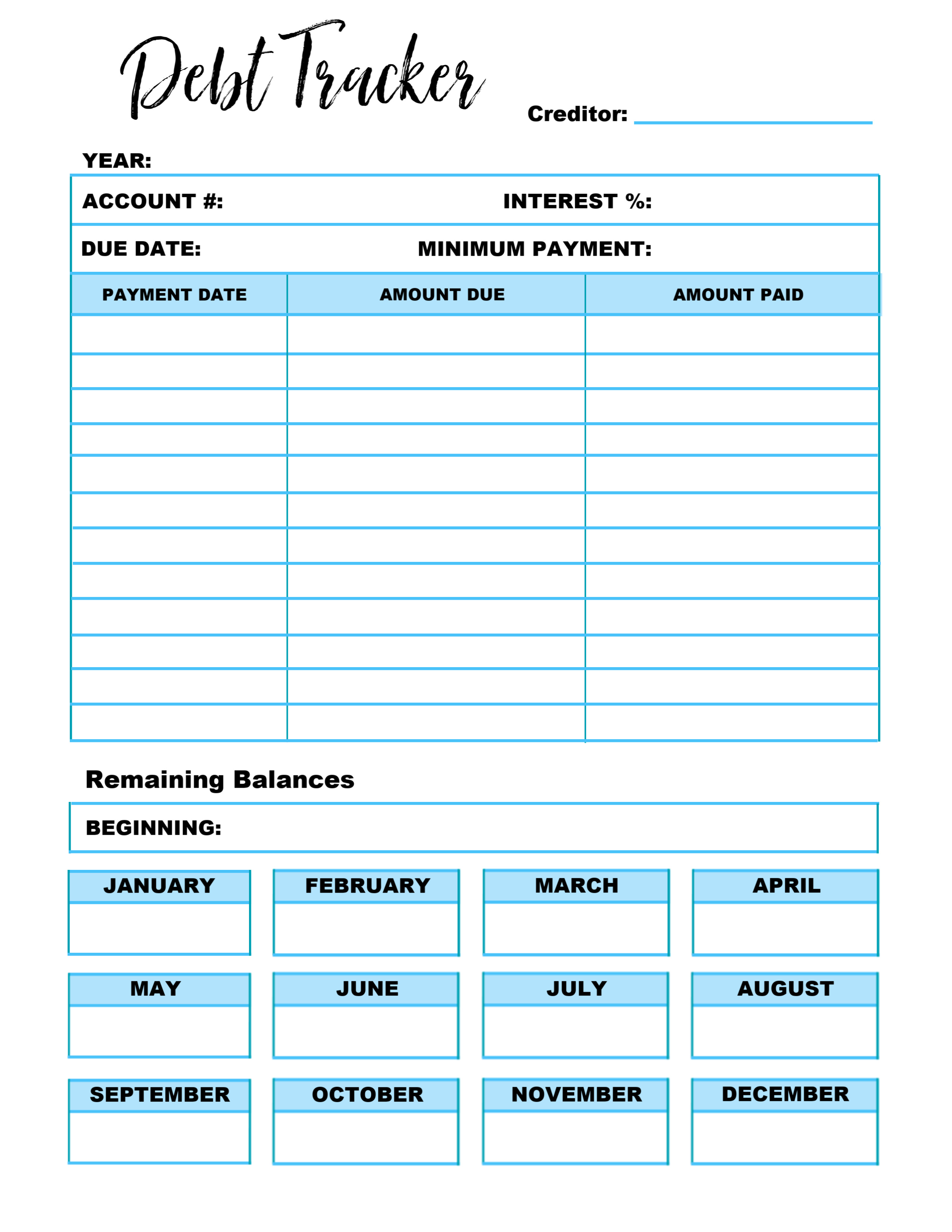photo about Debt Tracker Printable named Price range Printable Collection - Personal debt Tracker ~ The Frugal Sisters
