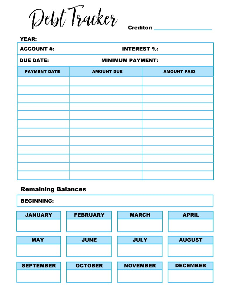 Declarative image with debt tracker printable