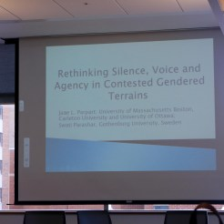 Jane Parpart lectures from her book Beyond the Binary: Rethinking Silence, Voice and Agency in Contested Gendered Terrains. Photo: Sarah Crookall.