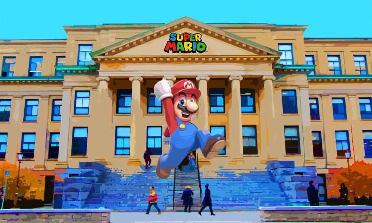 Mario jumping in front of Tabaret