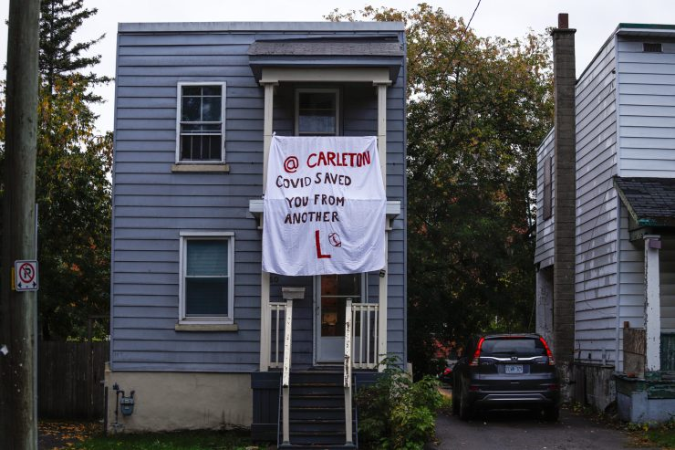 A sign insulting Carleton