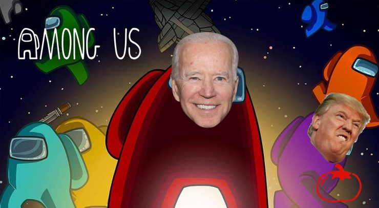 Among us with Biden and Trumps faces superimposed