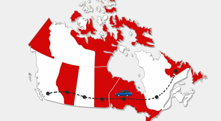 a car travelling across Canada