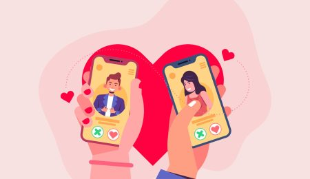Two people swiping on dating apps